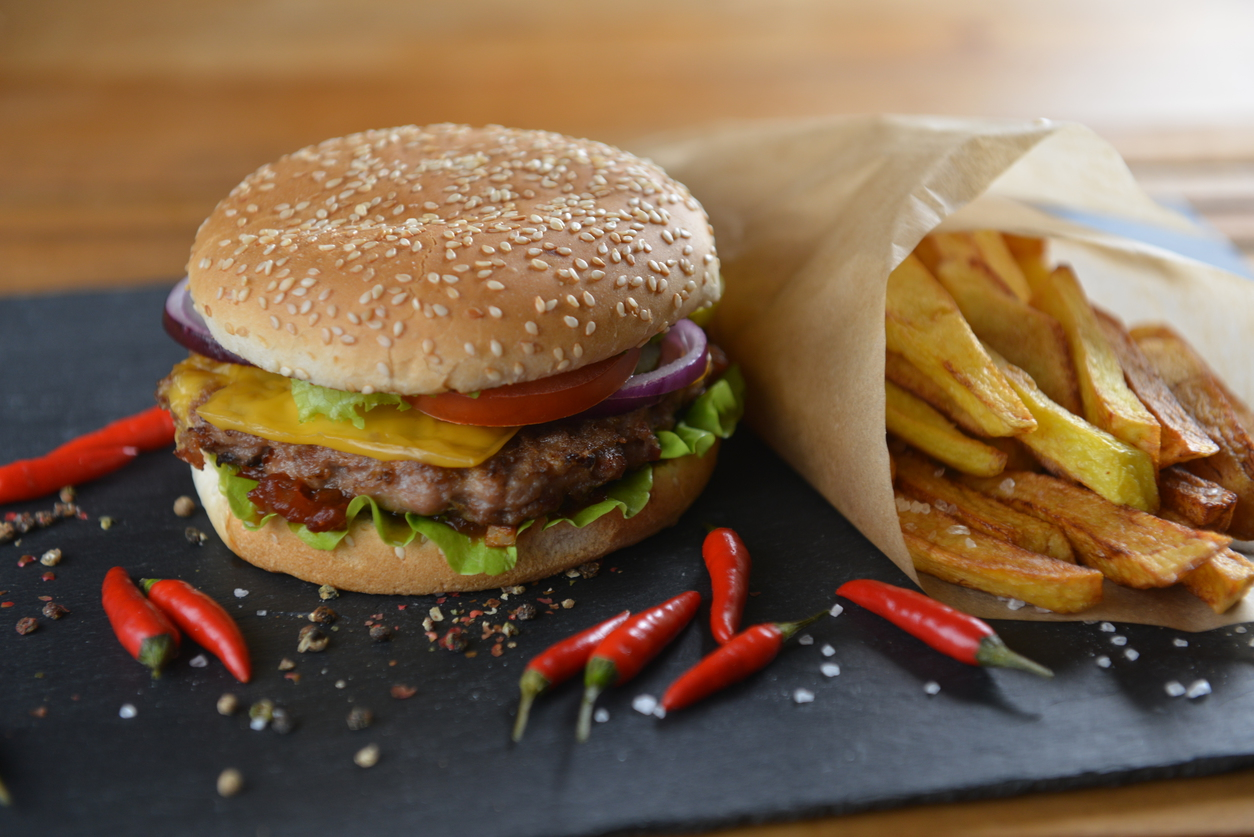 Tasty and appetizing hamburger with fries